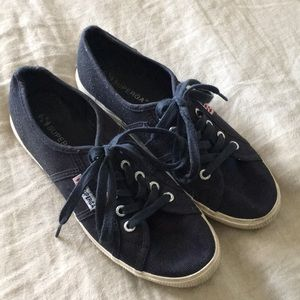 Superga navy blue and cream canvas sneakers 38
